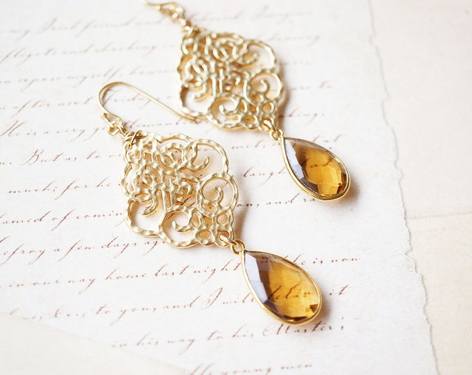 Featured listing image: SALE - Earrings, Gold Earrings, Quartz Earrings, Long Earrings, Handmade Earrings, Dangle Earrings, Drop Earrings, Honey Quartz, Gift