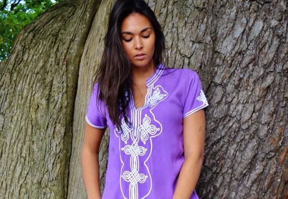 Christmas winter gifts | Purple Lilac Aisha Short Sleeve Boho Trendy Caftan Kaftan -resortwear, Honeymoon, Wedding, Maternity, winter dress