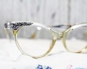 Silver Cat Eye Glass Frame, Cat Eye Glasses, Vintage Eyewear, Retro Eye Glasses   - D