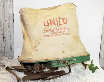 Unico Seed Spreader, Vintage Farm Implement, Tool