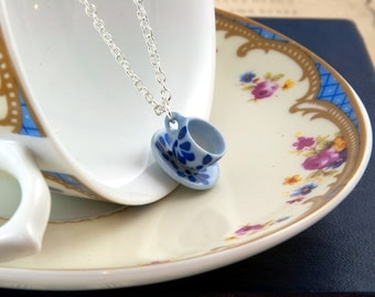 Teacup Necklace Blue and White, Tea Lover Gift, Teacup Jewellery