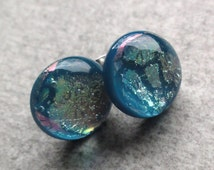Turquoise Stud Earrings - Turquoise Earrings - Dichroic Glass Earring Studs - Colorful Earrings -  Mermaid Earrings - Mothers day gift