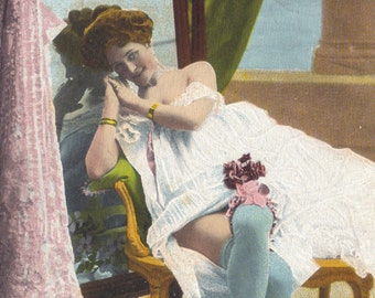 Gaudy Chromolithograph Boudoir Scene, Posted 1906