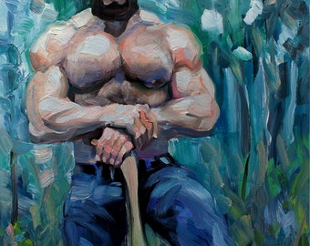 Lumberjack Beware Bear, 16x20 inches, oil on masonite panel by Kenney Mencher (gay art)