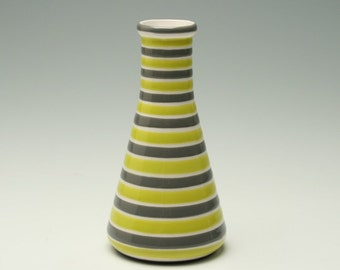 Chartreuse and Grey Stripes Beaker Vase Striped Hand Painted Flower Vase