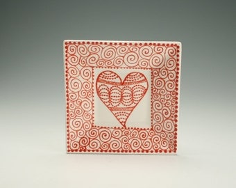 "Red and White 6"" Square Heart Plate Hand Painted Valentine Dinnerware"
