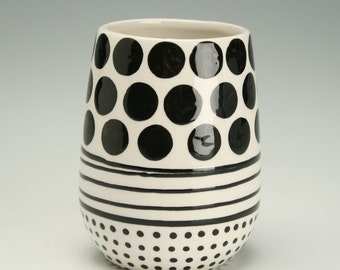 Lines, Dots, and Spots Stemless Wine Vessel Glass Juice Cup Hand Painted Black and White