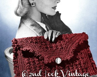 Vintage 1940s Crochet Pattern Ruffled Envelope Clutch Purse Handbag Digital Download PDF