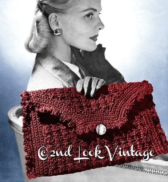 1940s Handbags and Purses History Vintage 1940s Crochet Pattern Ruffled Envelope Clutch Purse Handbag Digital Download PDF $3.00 AT vintagedancer.com
