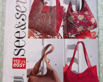 Easy to Sew Handbags in Two Styles UNCUT Butterick See & Sew Pattern B4271