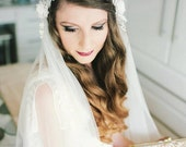 Juliet Cap Wedding Veil with beaded trim, lace and silk flowers, 1930s Cathedral length Bridal veil with blusher. Kate Moss style veil