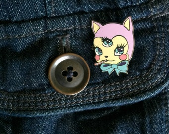 Mystic Mow Mow Enamel pin, glossy lapel pin from Rudy Fig, kitten, kawaii, alien, 3 eyes