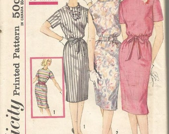 1960s Sheath Dress Shift Dress Jewel Neck Back Zipper Short Sleeves or Sleeveless Simplicity 3780 Bust 36 Uncut FF Vintage Sewing Pattern