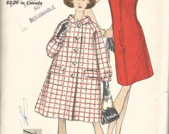 1960s Vogue Dress with Cap Sleeves & Tent Raglan Sleeve Bias Collar Coat Vogue 6916 Uncut FF Size 12 Bust 32 Women's Vintage Sewing Pattern