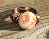 size 8.25 , 8 1/4 - Natural Crazy Agate gemstone, antique copper wire wrapped ring - white red earthy canyon - men women unisex jewelry