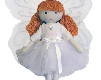 Personalized Fairy Princess Ballet Soft Dolly White Tutu, Wings & Toe Shoes