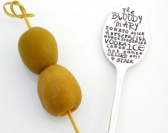 The BLOODY MARY Cocktail Recipe Stirrer Spoon. Tall Bar Spoon. Custom Cocktail. The ORIGINAL Subway Poster Art Style Cocktail Recipe Spoon™