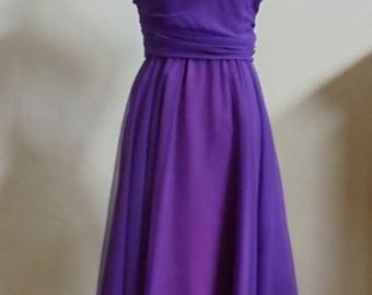 "Vintage 80's Karen Lawrence by Matthew Purple Dress with Spaghetti Straps & Jewel Toned Jacket Gold Metallic Threads Bust 35"" Waist 26"""