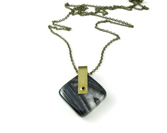 Riveted Black Agate Necklace | Stone Specimen Jewelry