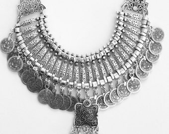 Turkish Antique silver plated coin replique necklace Vintage inspired  Bohemian Gypsy statement necklace Gypsy style statement piece