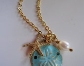 Turquoise Sand Dollar Necklace, Gold Starfish Charm, Pearl Necklace, Beach Jewelry, Nautical, Everyday