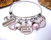 Mother Jewelry, Mom Memorial, Daughter Jewelry, A Mother's Love is Forever, Mother Memorial, Mother and Son, Mom Rememberance