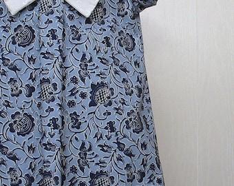 Girls Clothing, Girls Bow Dress, Girls School Dress ,Girls Portrait Dress, Girls Blue Dress  Sizes 4 thru 8  - A Line Dress