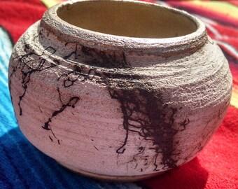 Horse Hair Raku Ceramic Mini Vase