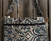 Zipper Pocket Cross Body Bag - Blue, Gray and Tan Ikat Pattern