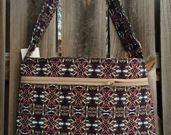 Zipper Pocket Cross Body Bag - Purple Kaleidoscope Pattern