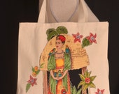 Frida, Tote Bag, Colorful Floral, Off White Canvas, Appliqué, Beading