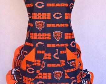Womens Apron, DA Bears, Chicago Bears Football Print, Double Ruffled, With Rose Pin or Hair Clip