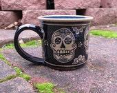 Sugar Skull Mug - stoneware coffee cup