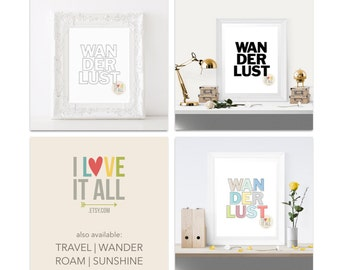 Wanderlust Art Print . Black and White Outline Travel Roam Wander Sunshine Adventure Office Home Decor Dorm Room College Room Housewarming