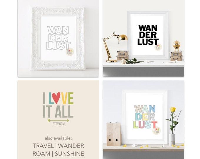 Featured listing image: Wanderlust Art Print . Black and White Outline Travel Roam Wander Sunshine Adventure Office Home Decor Dorm Room College Room Housewarming