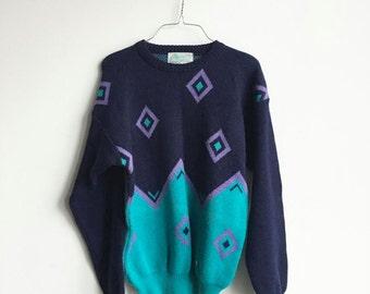 Vintage Navy, Turquoise, Lavender Diamond Knit Geometric 80s Sweater