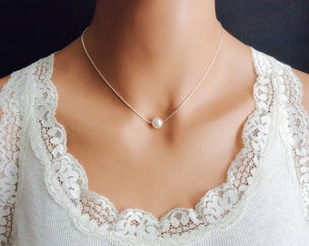 Floating Pearl Necklace In Silver Chain With 10mm White Swarovski Crystal Pearl 18 Inches