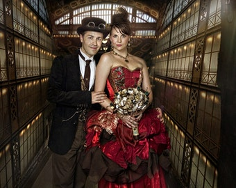 Red steampunk wedding dress, custom made to measure