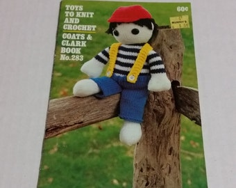 Toys to Knit and Crochet, Coats and Clark Book No. 283, toy patterns from 1980