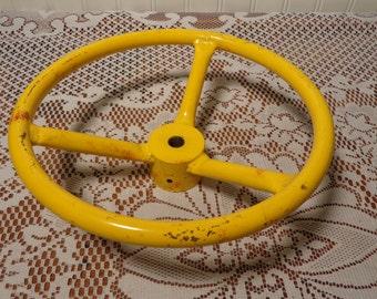 Vintage Large Yellow Valve Handle  -  Industrial Valve -   16-446