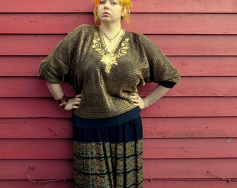 70s Sheer Gold Metallic Sequins Dolman Top Slouchy Disco Party Embellished Shirt Womens M/L