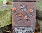Reclaim Relativity Mixed Media Folk Art Flowers- Hand Engraved Metals, Vintage Assemblage, Salvaged Trim - by Reagan Juel