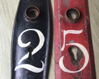Vintage House Number Door Plates, Architectural House Decor, Door Knob Plates