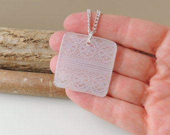 SECONDS: White Lace Necklace, Lace Resin Pendant, Lace Jewellery, Resin Jewellery, Fabric Jewellery, UK, 2319
