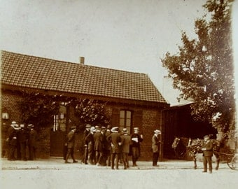 Old French Photograph - Group of Men Stood Outside a Building
