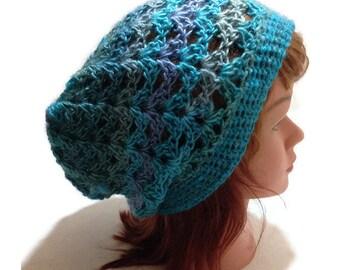 Blue Ombre Hat, Open Stitch Hat, Blue Festival Hat, Blue Beach Hat, Oversized Slouchy Hat, Ocean Ombre Beanie, Mesh Hat, Blue Womens Hat