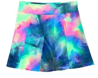 Rainbow Tie Dye Skater Skirt
