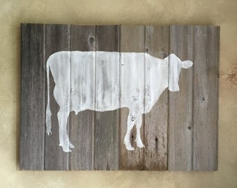 Rustic Barn Wood Wall Decor  • White Cow Silhouette Wall Art • Cow Wooden Chalk Paint Wall Hanging - Ready to Ship
