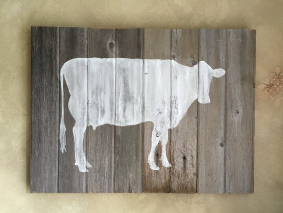 Rustic Barn Wood Wall Decor White Cow Silhouette Wall Art