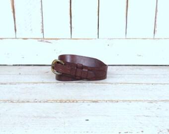 Vintage wide dark brown thick leather belt/harness belt/large/xlarge/40